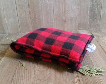 Aromatherapy Neck Pillow Flax Seed Organic Lavender Heating Herbal Therapy Wrap Microwave Heating Pad Buffalo Check Red Plaid Free Ship