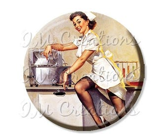 """50% OFF - Pocket Mirror, Magnet or Pinback Button - Wedding Favors, Party themes - 2.25""""- Vintage Pinup Girl Nurse MR167"""