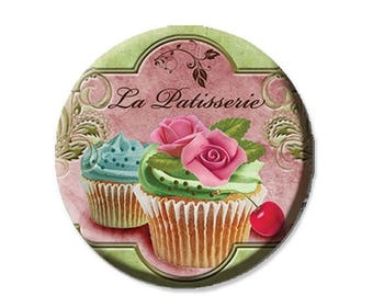 "50% OFF - Pocket Mirror, Magnet or Pinback Button - Wedding Favors, Party themes - 2.25""- La Patisserie MR266"