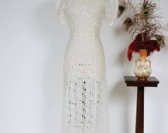 50% CLEARANCE 1930s Vintage Bridal Gown - Dreamy Sheer Cut Work Cotton Voile Eyelet Lace 30s Wedding Dress with Dramatic Puffed Sleeves