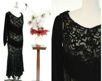50% CLEARANCE Vintage 1930s Dress - Rare Velvet Devoré Deco Cubist Motif Burnout Gown with Handkerchief Hem