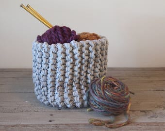Large knit basket - hand knit with T-shirt yarn
