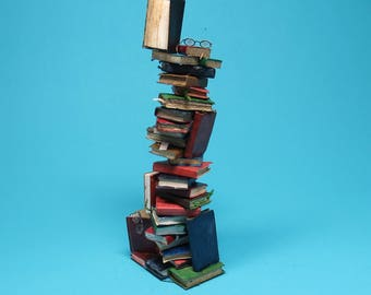 Collector Miniature 1:12 Scale STACK of BOOKS,  in a tower glasses, bookworms ooak