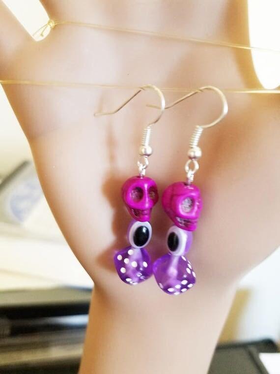 evil eye earrings purple skull earrings dice earrings sugar skull bead glass acrylic beaded handmade goth jewelry