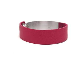 leather and metal cuff bracelet. pink and silver bracelet. mixed media bracelet.