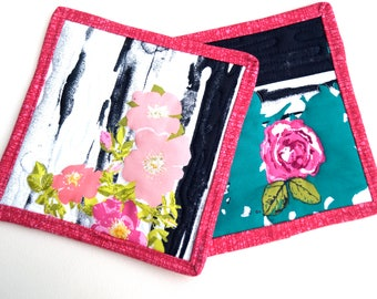 Modern Floral Quilted Pot Holders Set of Two, Eclectic Pink and Teal Flower Hot Pads