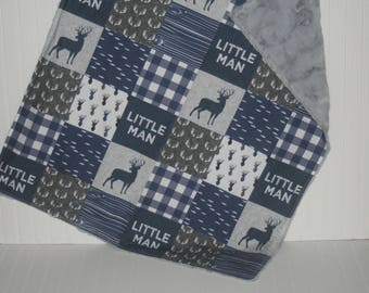 faux fur baby blanket- woodland baby blanket- faux patchwork minky baby blanket- fish baby blanket- navy baby blanket- deer baby blanket