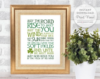 Irish Blessing Digital Art - May the road rise to meet you - famous sayings - irish blessings - digital printable file - instant download