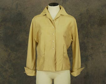 vintage 50s Silk Blouse - 1950s Khaki Silk Button Front Shirt - Sz M L