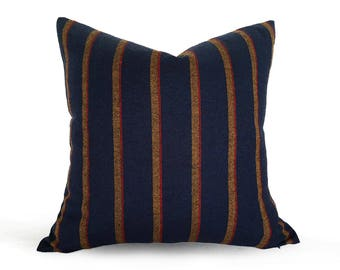 Dark Blue Wool Pillows, Blue Textured Pillow, Blue Wool Cushion, Blue Red Yellow Striped Pillow Case, Man Cave Stuff, Cabin Decor, 20x20 NEW