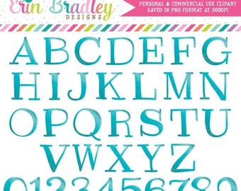 50% OFF SALE Teal Clipart Alphabet Digital Scrapbooking Alpha Instant Download Commercial Use Clip Art