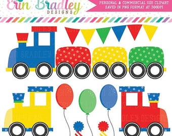 80% OFF SALE Train Clipart Boys Birthday Party Clip Art Graphics in Red Yellow Green & Blue with Balloons Bunting Party Hats Commercial Use