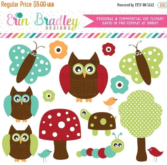 50% OFF SALE Forest Owls Clipart Clip Art in Red Teal Blue Green and Brown Personal & Commercial Use