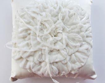 Ready to ship - Pure Silk Velvet Ring Pillow - soft and lovely - light ivory - white wedding