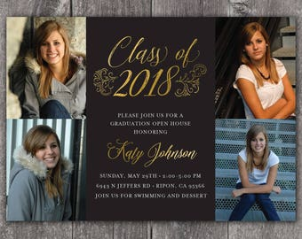 Elegant Grad - Custom Digital or Printed Photo Graduation Announcement Invitation