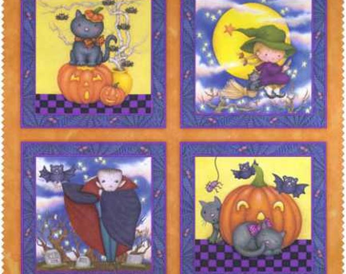 Halloween Fabric Panel, Happy Haunting Glow In The Dark Cotton Panel by Avlyn