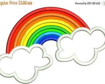 SALE 65% OFF Applique Rainbow and Clouds Machine Embroidery Designs 4x4 & 5x7 Instant Download Sale