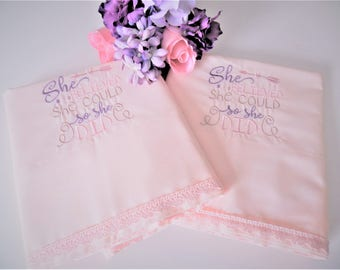 NOS Pink Pillowcases, Machine Embroidered, NOS Pillowcases, Never Used, Pink Pillowcases, Vintage Pillowcases, Handmade Pillowcases