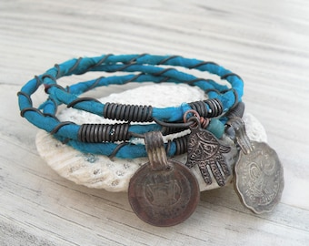 Silk Road 3 Piece Bangle Stack, Silk Wrapped, Stacking Bracelets, Tribal Gypsy Jewelry, Peacock Blue