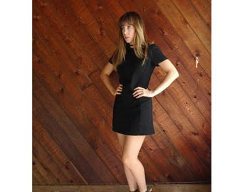15% Memorial Day Wknd ... 90s Black Wool Mini Shift Dress - Vintage - XS Petite