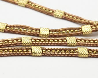 5 Feet - 1.5m Raw Brass Soldered 3 Lined Chain (4.3mm) Z115