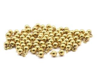 12 Raw Brass Ball Charms (4mm) Bs-1076--n587