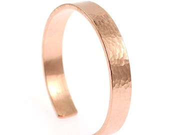 10mm Wide Hammered Copper Cuff Bracelet - Hammered Copper Cuff - 100% Uncoated Solid Copper Cuff - Gifts for Her - Gifts for Him