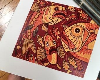 Orange Roughy, Fish art, Original Woodcut, block print