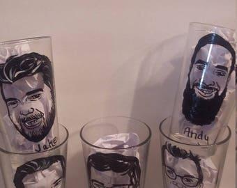 7pc for Destiny, toasting glass, Caricature glasses, Custom Pint glasses, Pint Glass, Groomsmen Gift, Wedding favors, groomsmen caricature