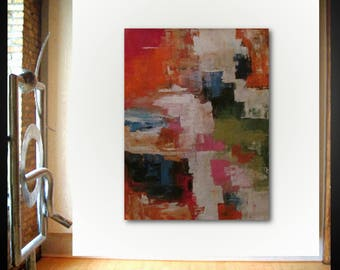 Original large abstract painting palette knife wall art deco by Elsisy 48x36 Free US shipping Red blue Green.