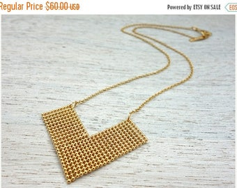 On Sale 40% off, Celina Necklace, chevron pendant jewelry, geometric v-shape gold silver plated
