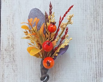 Fall Berry & Wheat Boutonniere for your Rustic Wedding