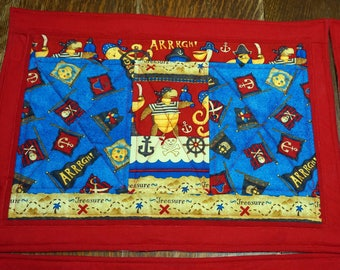 OOAK 4 Quilted Pirate Placemats for Kids, Children's  ...Buy 1, 2, 3, 4