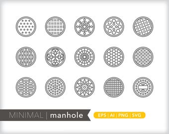 Minimal manhole line icons | EPS AI PNG | Geometric Road Clipart Design Elements Digital Download