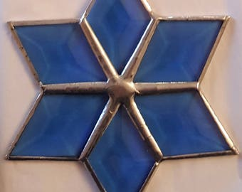 Stained glass Leaded glass six point colored beveled star sun catcher/ornament