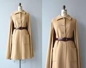 Aquascutum wool cape coat | vintage 1970s camel cape coat | 1970s camel coat