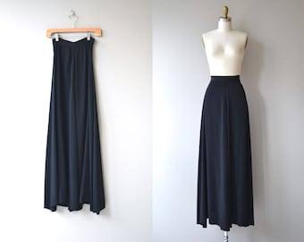 Opening Night silk skirt | vintage 1930s skirt | long black silk 30s maxi skirt