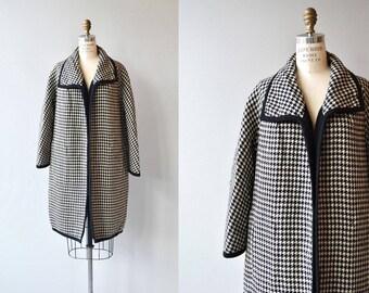 Reversible Check wool coat | vintage 60s black and white coat | 1960s wool coat