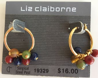 Gold Tone Liz Claiborne Hoop and Color Beaded  Earrings. Never worn.