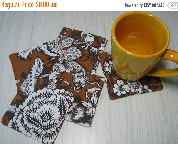 CLEARANCE SALE Coasters Set of 5 Floral & Fruit Vintage Upcycled Tablecloth