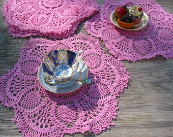 "4psc 15"" Pink Hand Crochet Doily/Place Mats ,Cottage/Victorian/Shabby/Boho/French Style,Tea Party, Vintage Wedding"