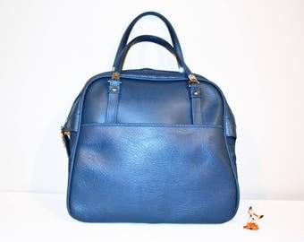 Vintage Airline Blue Vinyl Tote Bag