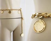 Vintage Gold Tone Medium Weight Coin Style Woman's Retro Chain Belt