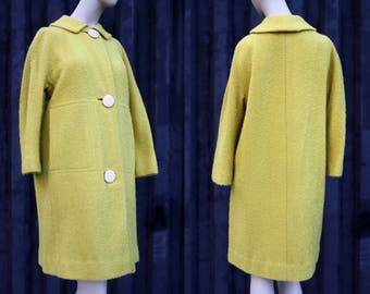Vintage Livingston Bros Yellow Retro Knobby Wool 1950's Coat