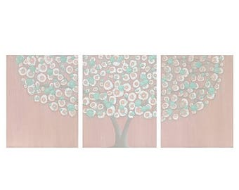 ON SALE Pink and Teal Shabby Chic Wall Decor for Baby Girl Nursery Canvas Tree Art - Textured Painting Triptych - Large 50x20