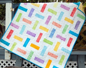 Handmade Baby Quilt with Bright and Happy Colors, Fun Handmade Baby Quilt, Handmade Baby Quilt