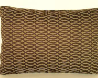 "18"" x 12"" Lumbar Rectangle Throw Pillow Cover Olive Green Brown Modern Geometric Ikat"
