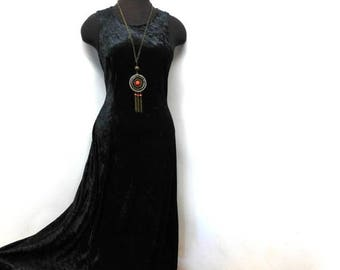 STOREWIDE CLEARANCE Vintage 90s Sleeveless Black Velvet Maxi Dress Lace Up Corset Full Sweep Witchy Goth Gothic Festival S Small M Medium
