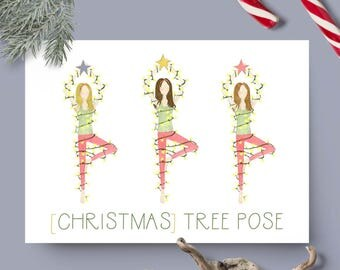 Christmas Tree Pose, Yoga Holiday Card // Blank Inside // Yoga Christmas Card // Yoga Holiday Stationary