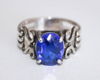 Sterling Silver Blue Glass Stone Ring Size